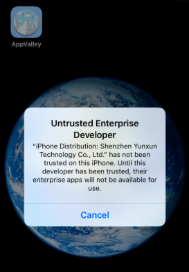 Untrusted Enterprise Developer Issue