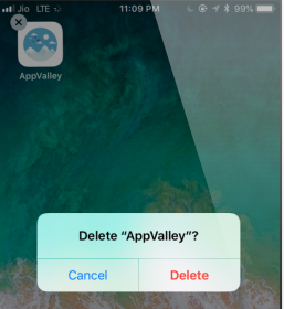 Deleted AppValley Profile Settings